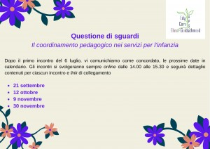 Calendario Corso di formazione per Coordinatrici dei servizi per l'infanzia